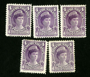 Newfoundland-Stamps-84-VF-OG-Hinged-Lot-of-5-Scott-Value-212-00