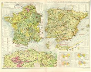 Map Of Portugal And Spain And France.Details About 1928 Map France Portugal Spain Commercial Development Economic Commodites