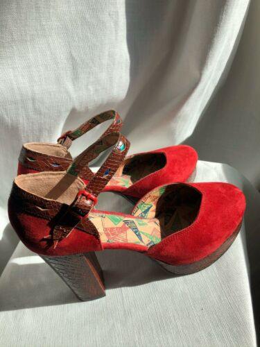 Miss L-Fire Suede And Skin Platform Shoes Sz 8