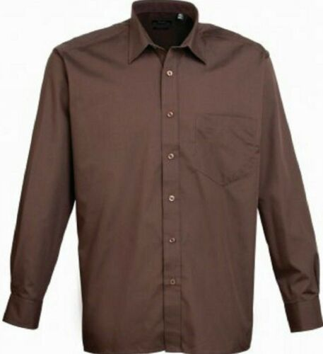 MENS PREMIER LONG SLEEVE POPLIN SHIRT Plain Work Shirt ALL COLOURS SIZES