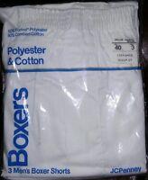 Vintage Jc Penny's Men's Boxers Shorts 3 Pair White Underwear 1980's Rare