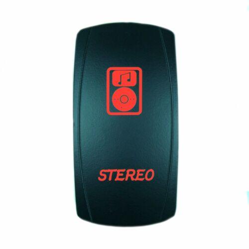 5 pin Laser Backlit Rocker Switch STEREO  20A 12V ON//OFF LED RED