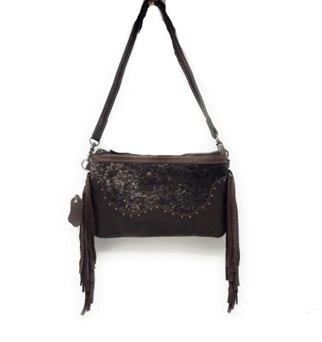 Western Genuine Leather Cowhide Fur Fringe Basketweave Crossbody Bag in 2 colors