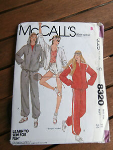Oop-McCalls-8320-Learn-to-Sew-Misses-jogging-hooded-jacket-pants-shorts-sz-12
