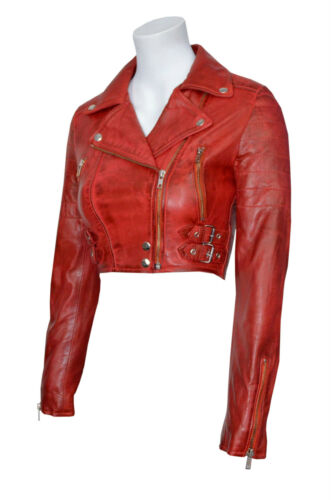 Missy Ladies Women/'s Red Short Cropped Biker Gothic Punk Nappa Leather Jacket