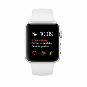 Apple Watch Series 2 38mm Aluminum Case White Sport Band - (MNNW2LL ... 53e80446614