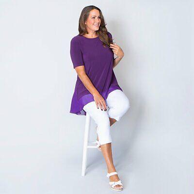 L 16-18uk Nicole Half Sleeve Tunic with Chiffon Godet Trim purple Black M 12-14