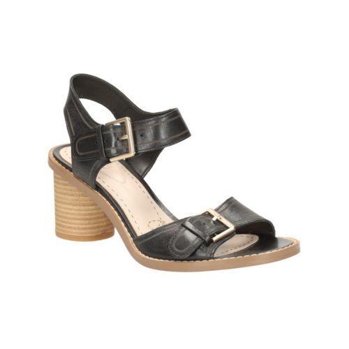 Clarks Ghiacciaio Cool neri in pelle donna sandalo casual RRP