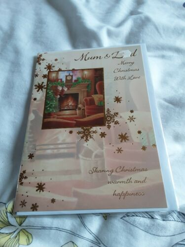 fire place stockings Mum and dad Christmas Card BNIP