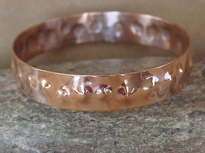 Native American Jewelry Hand Stamped Copper Bangle Bracelet