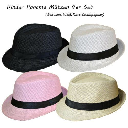 4 Stück Set Kinder Panamahut Strohhut Hut Gr.54 Kind Junge Sommerhut Hutband