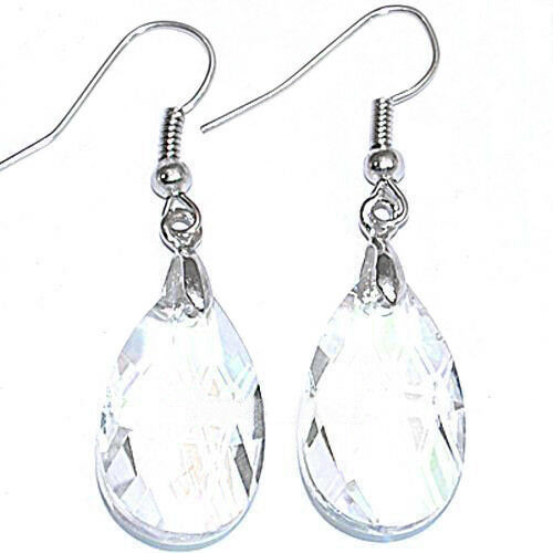 Teardrop Faceted Crystal Glass Bead Pendentif Dangle Boucles d/'oreilles crochets Earwires