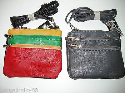 New Womens 4zip Leather Sml Crossbody Shoulder Bag Handbag Passport Travel Pouch