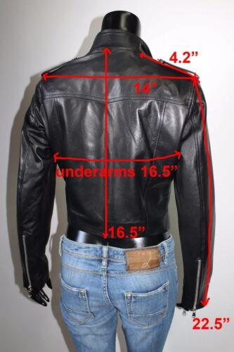 Genuine Women Snake Leather Brown Jacket Cropped Handmade Italian Biker Xs E5qwnpaUF