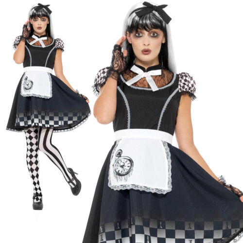 Femme Gothic Alice Pays des Merveilles Conte De Fées Halloween Adult Fancy Dress UK 4-22