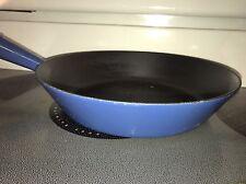 Vintage Le Creuset Skillet Frying Pan 24 Blue Teak Handle