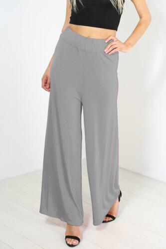 Ladies Womens Palazzo Wide Leg Trousers Plain Flared Legging Pant Plus Size 8-26