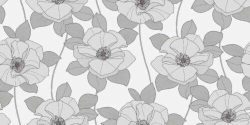 Arthouse VIP 611905 Dakota Silver Grey White Floral Rose Feature Wallpaper