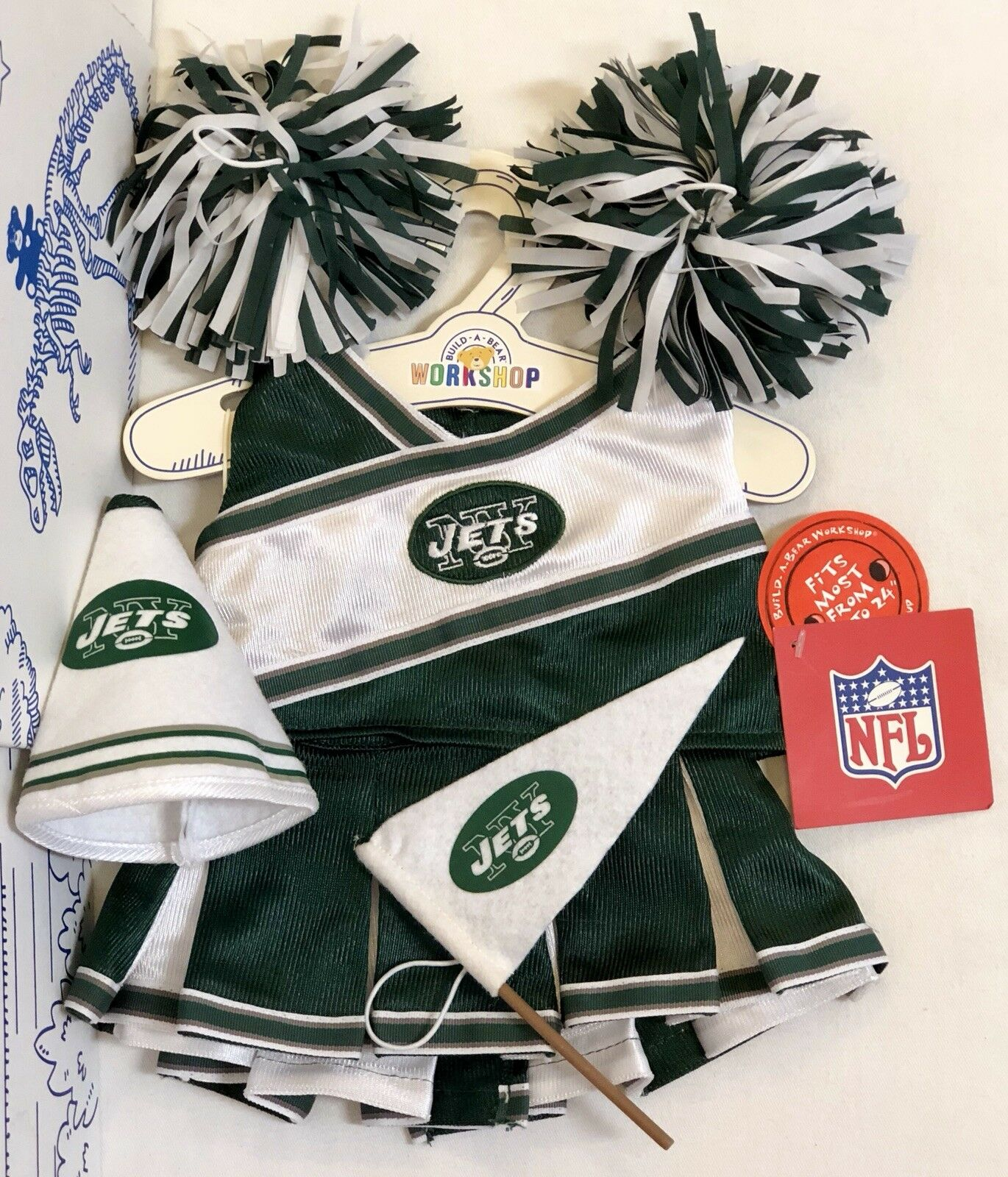 Nuovo Build A Bear NFL Football Uniform NY York Jets Cheerleader Costume Set Lot 6