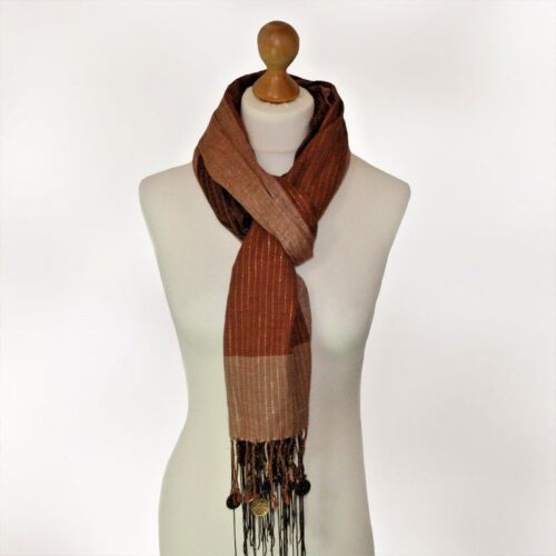 BNWT ladies BOHO Turkish brown beige scarf with shiny stripes tassels and coins