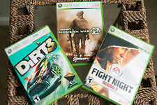 Xbox 360 Games Dirt 3, Modern Warfare 2, Fight Night Round 3 Complete