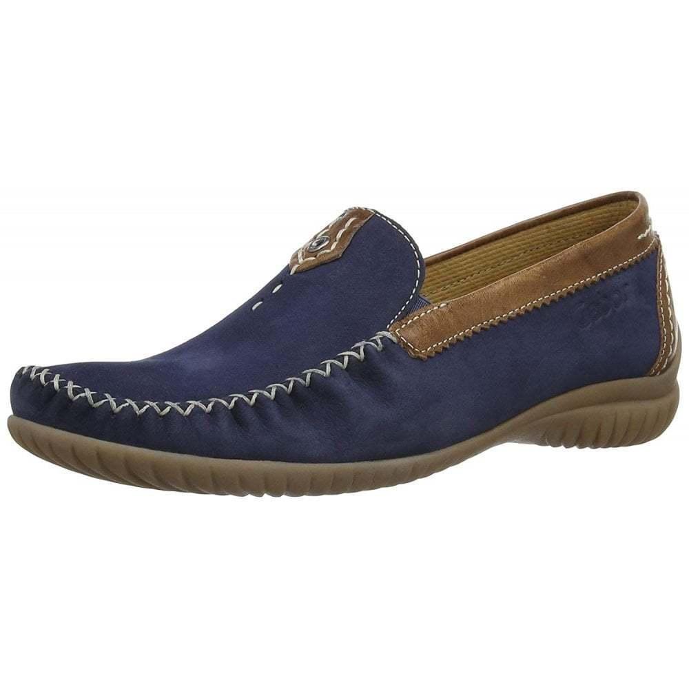 Gabor California 26.090.46 Navy   Tan Leather Moccasin schuhe