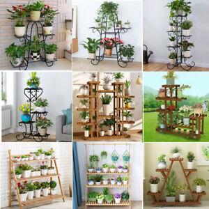 Wooden Metal Plant Stand Flower Pot Shelves Corner Outdoor Indoor Garden Decor Ebay