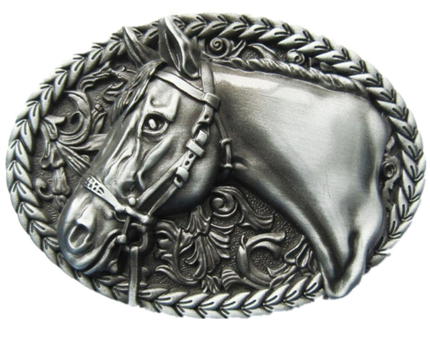 Horse II Belt Buckle Horses Rider Ride Rodeo Western Cowboy Saloon Ranch Cowboys