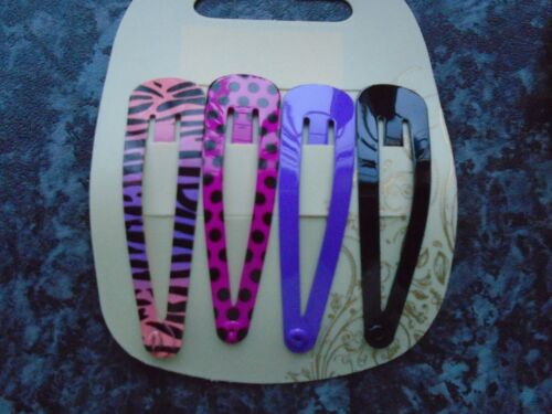 Purple Animal Print /& Plain Purple Hair Snap Clip Bendies 4 pc Set