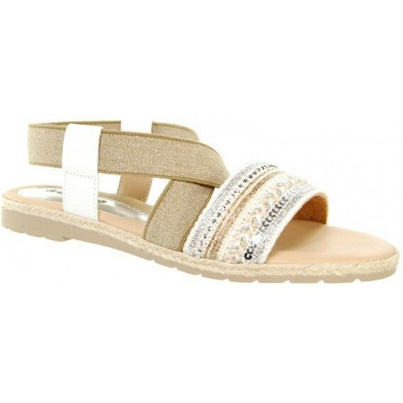 Adesso Shellie White Natural Textile Leather Sandals NEW SS18 RRP .99 Size 7