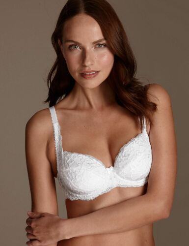 Womens Bra Underwired Padded  Balcony White Fleur Lace