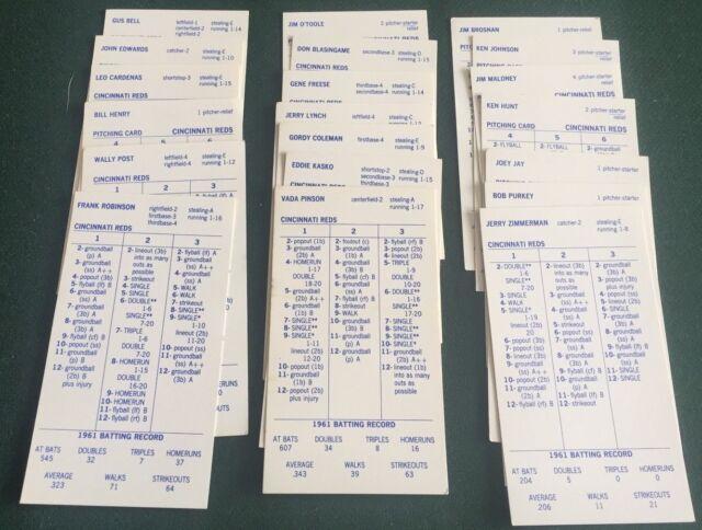STRAT-O-MATIC BASEBALL GAME 1961 CINCINATTI REDS TEAM SET!