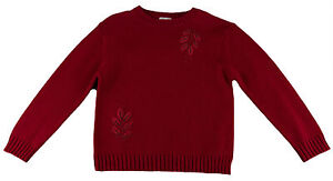 JACADI-Girl-039-s-Aromate-Lacquered-Red-Crew-Neck-Sweater-Sz-8-Years-NWT-88