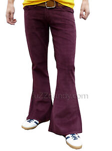 FLARES-Red-Purple-mens-bell-bottoms-Cords-hippy-vtg-indie-trousers-60s-70s-NEW