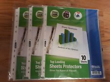 Lot Of 3 Top Loading Sheet Protectors 10pack Holds 85 X 11 Paper