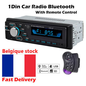 Car-Radio-de-Voiture-1-DIN-Autoradio-Bluetooth-MP3-Stereo-FM-USB-AUX-Head-Unit