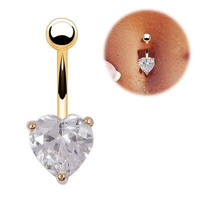 Navel Ring Belly Rhinestone Bar Heart Star Body Piercing Clear Gold Plated