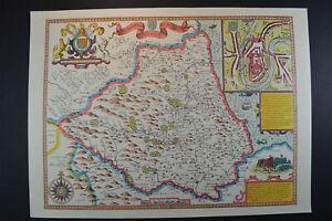 Vintage decorative sheet map of Wales John Speede 1610