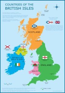A3 Uk Map Great Britain British Isles Childrens Wall Chart Poster
