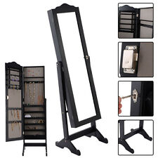 Lockable Mirrored Jewelry Cabinet Armoire Mirror Organizer Storage Box w/ Stand