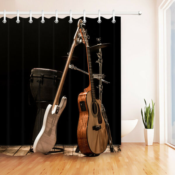 musical instruments acoustic guitar drums shower curtain set bathroom waterproof hover to zoom - Musical Shower Curtains