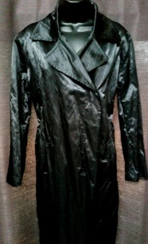 Trenchcoat Doublebreast Calvin Sz Poly Klein 6 knap sheen metal Sort M Long RR8qS4w