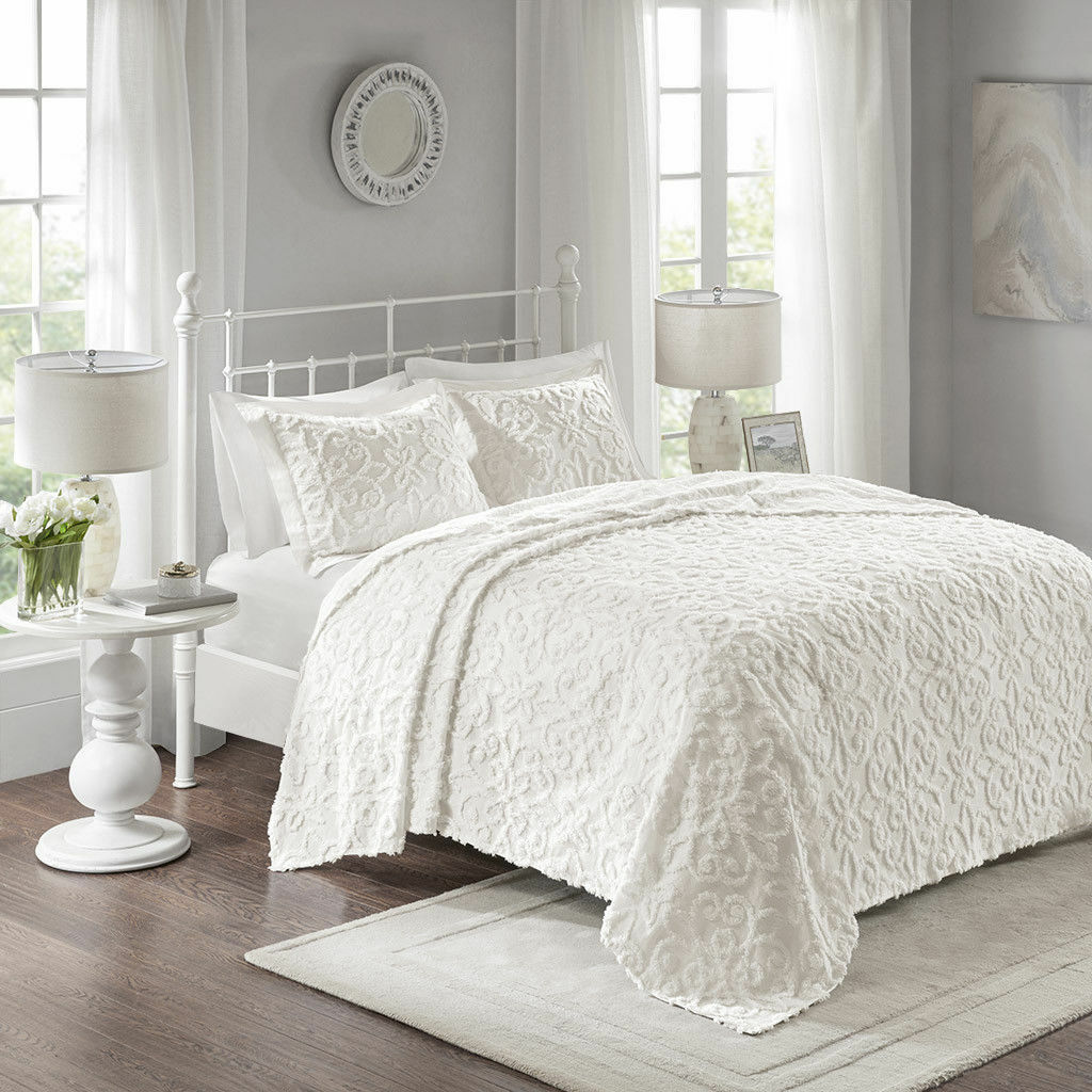 BEAUTIFUL ULTRA SOFT XL LARGE ELEGANT CHENILLE VINTAGE Weiß BEDSPREAD QUILT SET