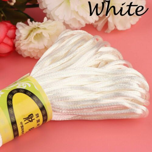 2mm 20m Hot Thread Rattail Macrame Braided Cords Nylon Soft Satin Chinese Knot