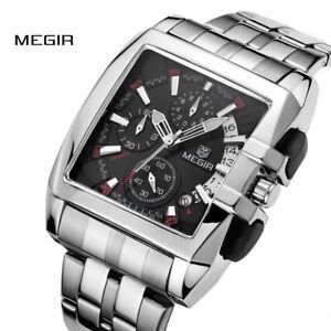 MEGIR Date Chronograph Watches Men Luxury Stainless Steel