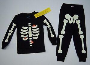 2d87b25206e8 NWT Gymboree Halloween Black Skeleton Creatures Gymmies Pajamas ...
