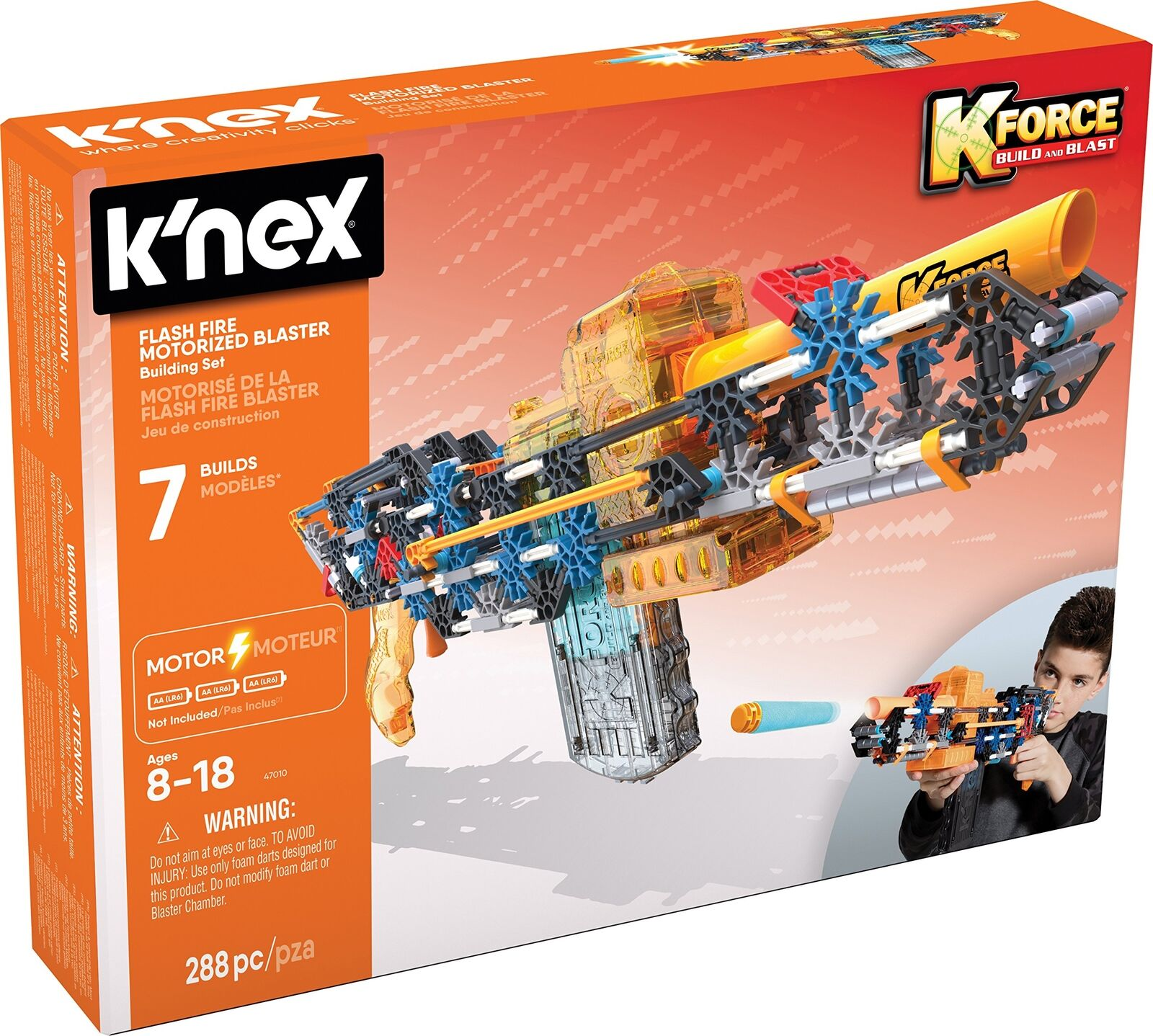 K'NEX K-Force Flash Fire Motorised Blaster Building Set for Ages 8+ Engineering