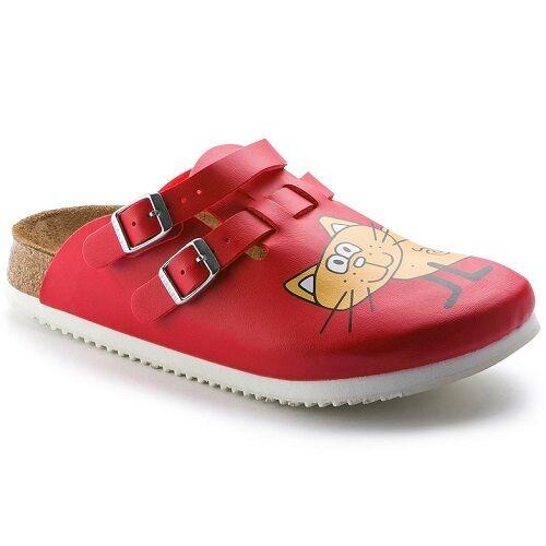 Birkenstock Clogs Pantolette Kay 582516 BF Superlauf cat red katze rot schmal