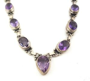 Amethyst-Cabochon-Linked-Sterling-Silver-925-Necklace-Faceted-Crystals-17-inch