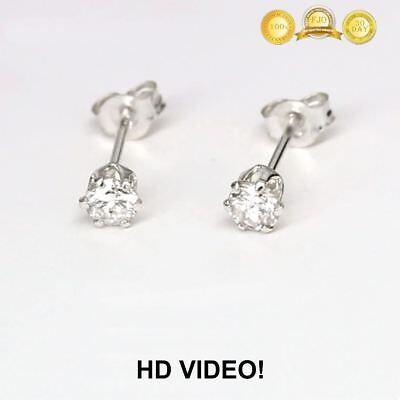 Gut Ausgebildete 0.18 Ct Genuine Diamond Brilliant Cut Solitaire Studs 14k White Gold /video Zu Den Ersten äHnlichen Produkten ZäHlen